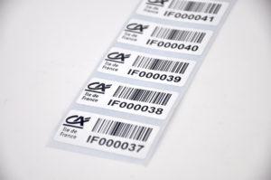 Etiquette immobilisation inventaire code barre RFID